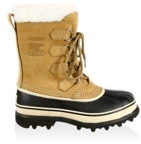 Sorel Caribou Nubuck Leather and Faux Fur Lace-Up Boots