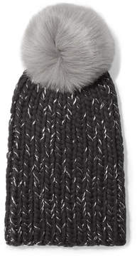Eugenia Kim Rain Faux Fur-trimmed Chunky-knit Wool Beanie - Gray