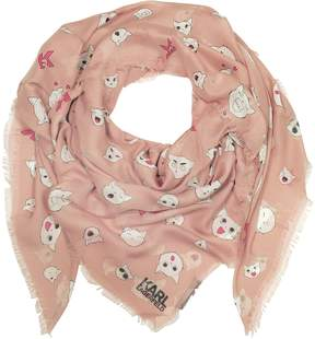 Karl Lagerfeld Quartz Pink Silk-mix Wrap w/Choupette Faces