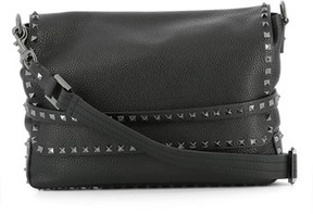 Valentino Men's Black Leather Messenger Bag.