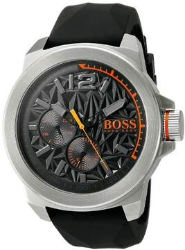 HUGO BOSS 1513346 Men's Orange New York Black Dial Black Silicone Strap Watch