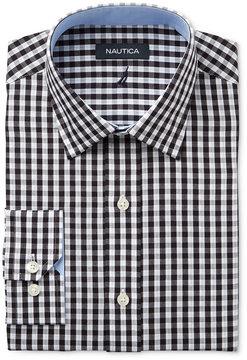 Nautica Men's Classic/Regular Fit Black/White Herringbone Check Dress Shirt