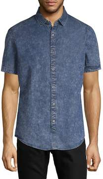 Saks Fifth Avenue BLACK Men's Distressed Chambray Button-Down Shirt