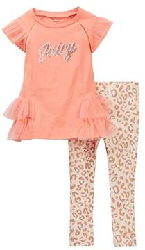 Juicy Couture Ruffle Detail Tunic & Animal Print Legging Set (Little Girls)