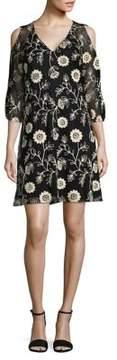 Gabby Skye Floral Cold-Shoulder Shift Dress
