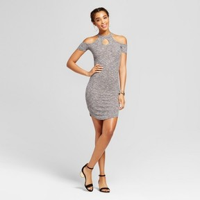 Almost Famous Women's Cold Shoulder Mock Neck Keyhole Ribbed Dress Juniors') Gray