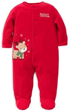 Little Me Boys' Velour Reindeer Footie - Baby