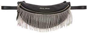 Miu Miu Black Crystals Fringe Belt Bag
