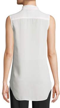 Carmen Marc Valvo Carmen By Sleeveless Chiffon Half Button-Front Shirt