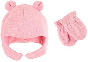Luvable Friends Light Pink Bear Fleece Hat & Mittens - Infant & Toddler