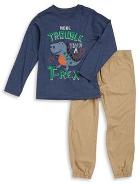 Kids Headquarters Little Boy's Two-Piece Graphic Tee and Cotton Jogger Pants Set