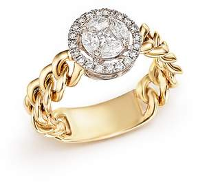 Bloomingdale's Diamond Halo Flexible Chain Ring in 14K Yellow and White Gold, .55 ct. t.w.