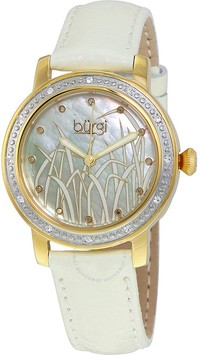 Burgi Mother of Pearl Pattern Dial White Leather Ladies Watch