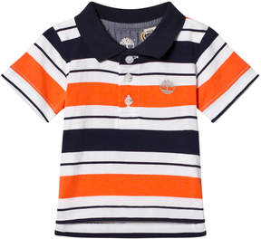Timberland Kids Red and Navy Stripe Logo Polo