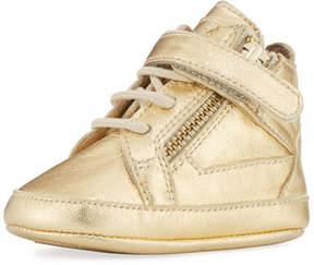 Giuseppe Zanotti Kids' Unisex Metallic Leather High-Top Sneaker, Yellow, Infant