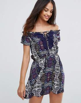 AX Paris Navy Printed Dress With Lace Detail