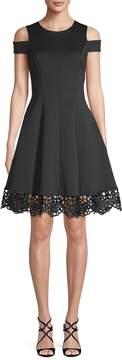 Donna Ricco Women's Fit & Flare Cold Shoulder Dress