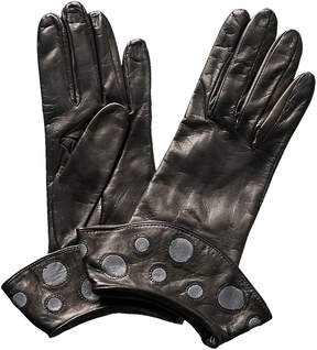 Portolano Black Flounce Cuff Leather Gloves