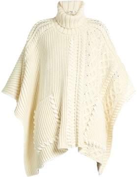 Fendi Roll-neck wool poncho