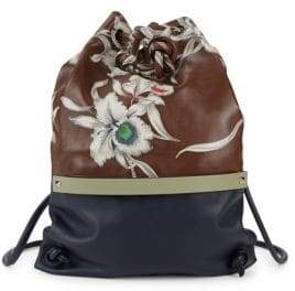 Valentino Leather Floral Colorblock Backpack