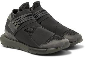 Y-3 Qasa Suede-Trimmed Mesh High-Top Sneakers