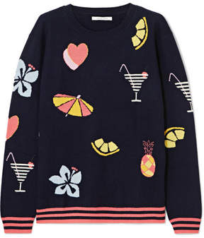 Chinti and Parker Intarsia Cashmere Sweater - Navy