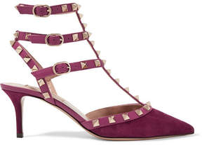 Valentino Rockstud Leather-trimmed Suede Pumps - Grape