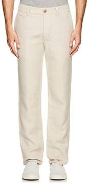 James Perse MEN'S HERRINGBONE-WEAVE COTTON-LINEN TROUSERS