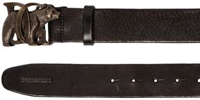 DSQUARED2 40mm Leather Belt W/ Bear Buckle