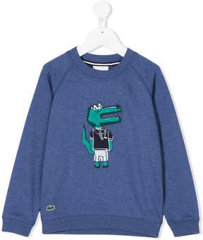 Lacoste Kids embroidered crocodile sweatshirt