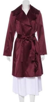 Tahari Ruffled Long Coat