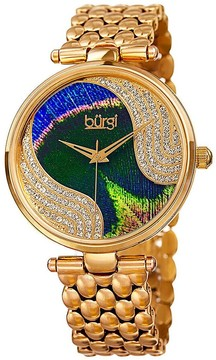 Burgi Peacock Feather Dial Ladies Gold Tone Crystal Watch