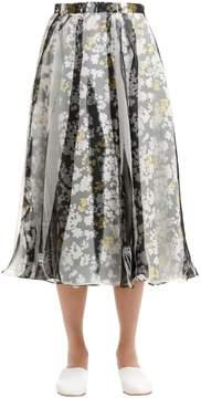 Jil Sander Printed Organza & Silk Twill Skirt