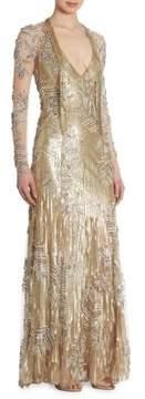 Jenny Packham Sequin Beaded Gown