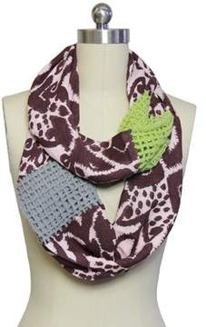 Saachi Womens Loop Wool Patch Scarf.