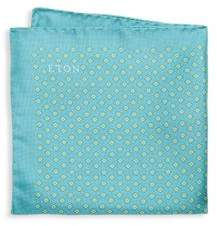 Eton Geometric-Print Raw-Silk Pocket Square