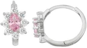 Junior Jewels Kids' Sterling Silver Cubic Zirconia Flower Hoop Earrings