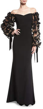Badgley Mischka Odessa Off-the-Shoulder Crepe Evening Gown w/ 3D Florals