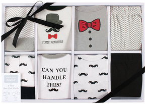 Hudson Baby Gray & Red Bow Tie & Chevron Bodysuit - Set of Eight