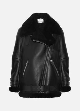 Acne Studios Velocite Shearling-trimmed Leather Biker Jacket - Black