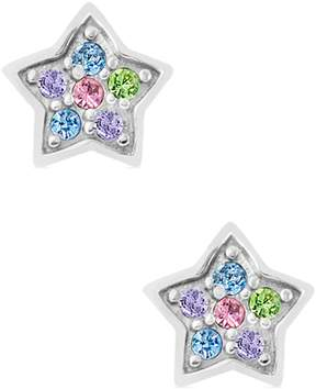 Swarovski Chanteur Jewelry 18K White Gold Plated Sterling Silver Multi-Color Pave Crystal Accent Star Stud Earrings