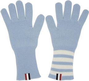 Thom Browne Blue Rib Cashmere Four Bar Gloves