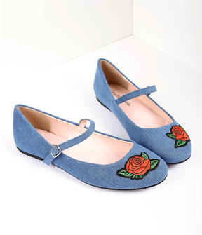 Unique Vintage Retro Style Blue Denim & Embroidered Red Rose Mary Jane Flats Shoes