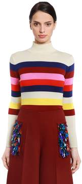 DELPOZO Striped Mohair Blend Knit Sweater