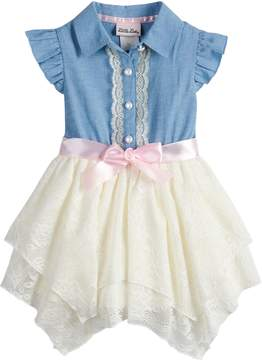 Little Lass Toddler Girl Chambray Hankerchief Hem Dress