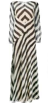 Alberta Ferretti Silk striped long sleeve evening dress