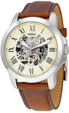 Fossil Grant Automatic Beige Skeleton Dial Men's Watch