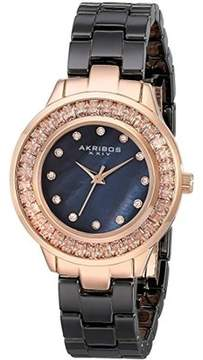 Akribos XXIV Black Mother Of Pearl Dial Quatrz Ladies Watch