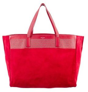 Saint Laurent Studded Reversible East West Shopper Tote - RED - STYLE