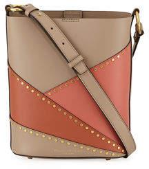 Donna Karan Adan Studded Patchwork Leather Bucket Bag